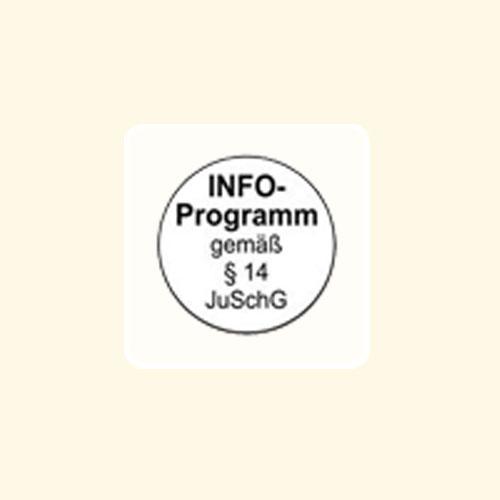 FSK-Aufkleber FSK: INFO weiß 100-er Pack INFO-Programm gemäß §14 JuSchG