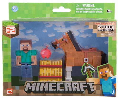 Merc Minecraft Figur Steve m. Pferd braun