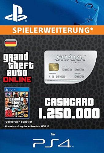 ESD GTA Great White Shark Card PS-4 Code wird als PDF Datei geliefert 1.250.000 GTA-Dollar  Einzweckgutschein