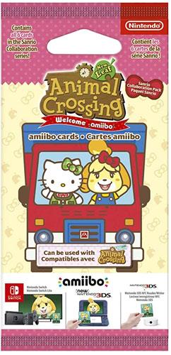 Amiibo  Karten 6 Stk. Animal Cr. N.Leaf + Sanrio amiibo Cards Pack