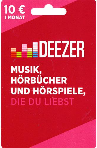 Deezer  POSA 10 Euro 1 Monat Verkauf erfolgt im Namen u. auf Rechnung des Gutscheinausstellers