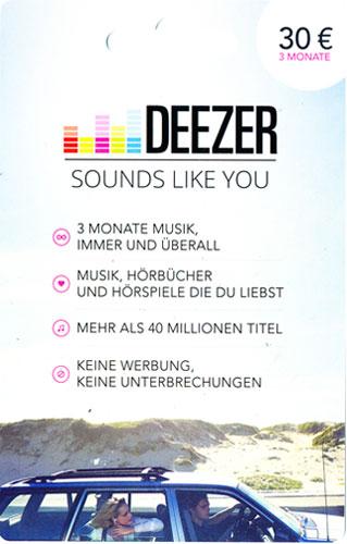 Deezer  PIN 30 Euro 3 Monate Code als pdf. Verkauf erfolgt im Namen u. auf Rechnung des Gutscheinausstellers
