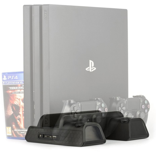 PS4 Multi-Dock V3 (Starship)  Pro+Slim Ladestation f. 2 Contr. + Standfuß+ Stauraum f. 12 Spiele + Kühlung + 1xUSB