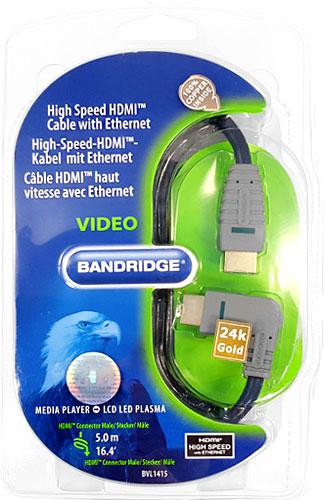 Multi HDMI Kabel 24k gold 4K + 3D  5m mit Winkelstecker