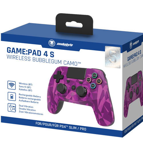PS4 Controller  GamePad 4S wirel. bubbl Snakebyte  Bluetooth bubblegum camo