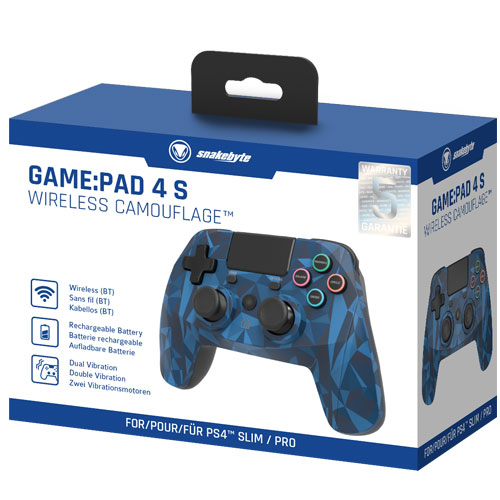 PS4 Controller  GamePad 4S wirel. camo Snakebyte  Bluetooth camo blue