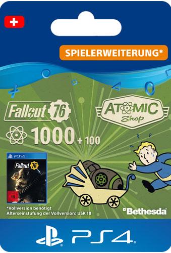 ESD Fallout 76 Atoms 1000 (+100) CH Code wird als PDF Datei geliefert