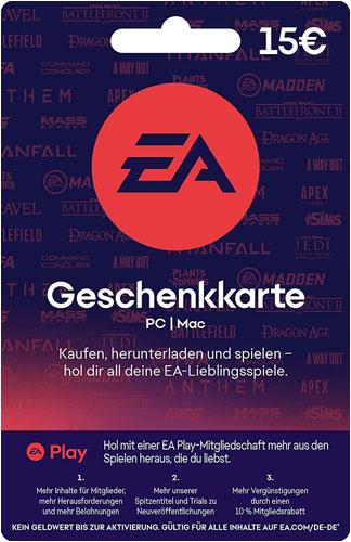 EA Origin Cash Card 15 Euro DE NEU Verkauf erfolgt im Namen u. auf Rechnung des Gutscheinausstellers