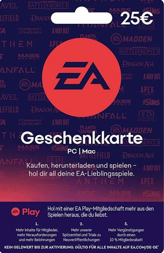 EA Origin Cash Card 25 Euro DE NEU Verkauf erfolgt im Namen u. auf Rechnung des Gutscheinausstellers