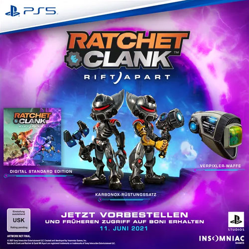 Ratchet & Clank  PS-5  Preorder Karbonox-Rüstungssatz / Verpixler-Waffe