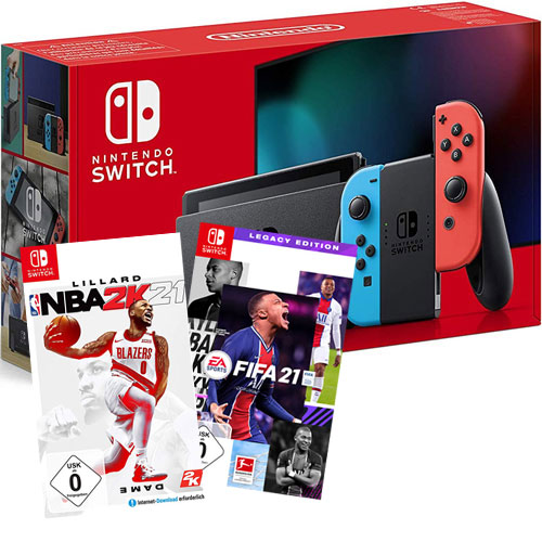 Switch   Konsole neonrot V2  Sportspack Nintendo   FIFA 21 + NBA 2k21